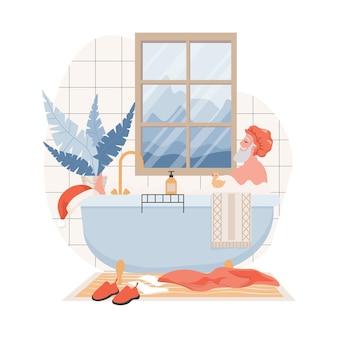 Weihnachtsmann in der duschhaube, die ein bad im badezimmer nimmt