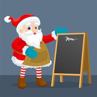 Weihnachtsmann in der nähe von tafel