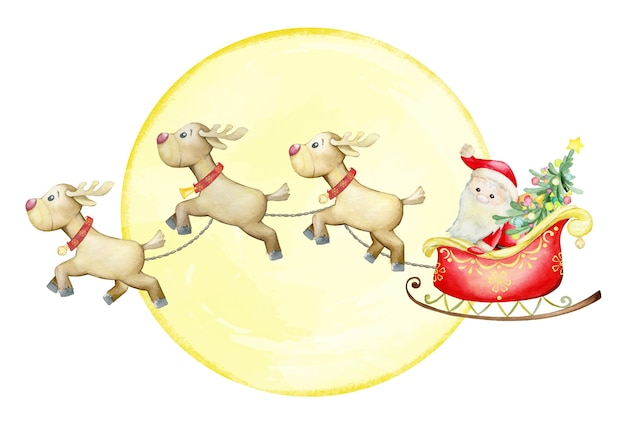 Weihnachtsmann in einem roten schlitten, der vom rentier gezeichnet wird, auf dem hintergrund eines gelben mondes. weihnachtskonzept