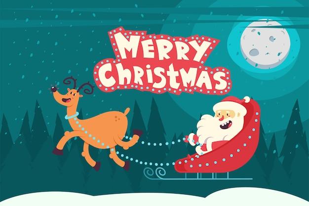 Weihnachtsmann in einem schlitten mit rentier, das über nachtwinterlandschaft und handgeschriebenen text der frohen weihnachten fliegt. illustration.