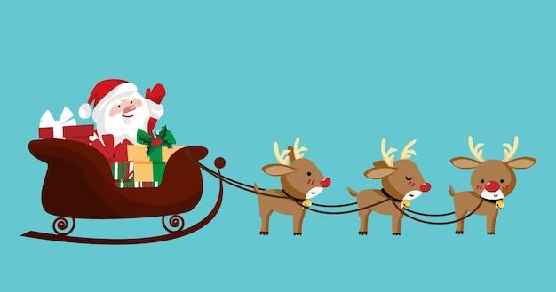 Weihnachtsmann in einem schlitten mit rentieren.
