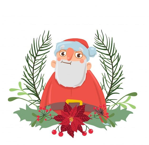 Weihnachtsmann in einem weihnachtskranz. illustration, auf weißem hintergrund.