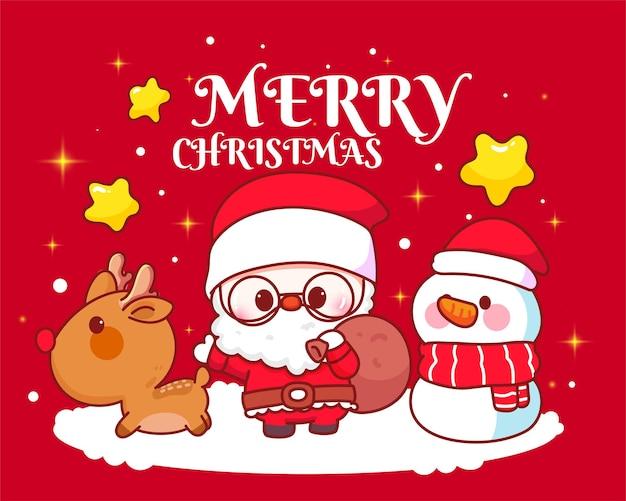 Weihnachtsmann in einer schlitten- und rentier- und schneemannfeier am weihnachtsfeiertag zusammen handgezeichnete cartoon-kunstillustration