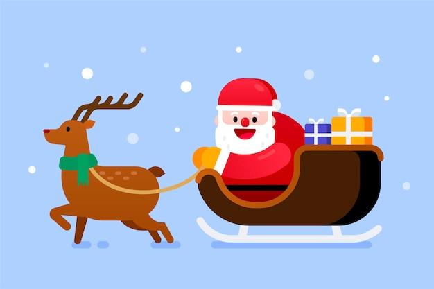 Weihnachtsmann in schlitten- und rentierlieferung