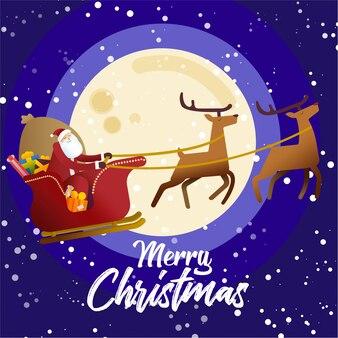 Weihnachtsmann in seinem fliegenden pferdeschlitten