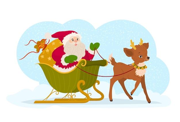 Weihnachtsmann in seinem schlitten und rentier
