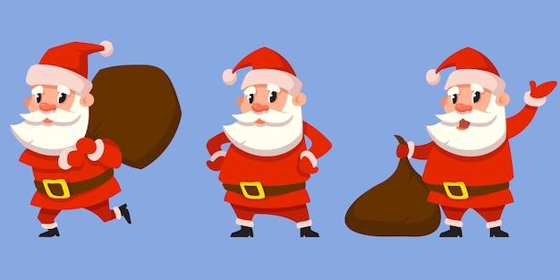 Weihnachtsmann in verschiedenen posen. weihnachtsfigur im cartoon-stil.