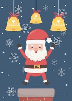 Weihnachtsmann-kamin und karte der frohen weihnachten der glocken