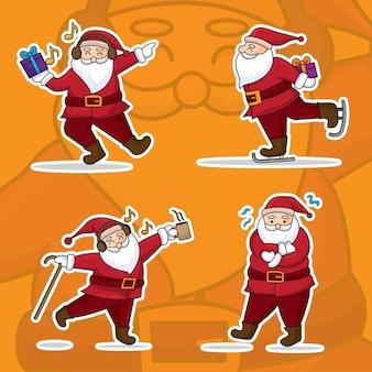 Weihnachtsmann-karikatur mit flachem stilentwurf. lustiger und niedlicher retro-charakter.