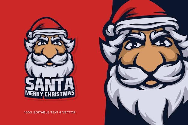 Weihnachtsmann-karikaturfigur des weihnachtsmannkopfes mit bearbeitbarem text