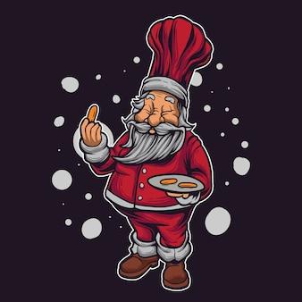 Weihnachtsmann-karikaturillustration Premium Vektoren