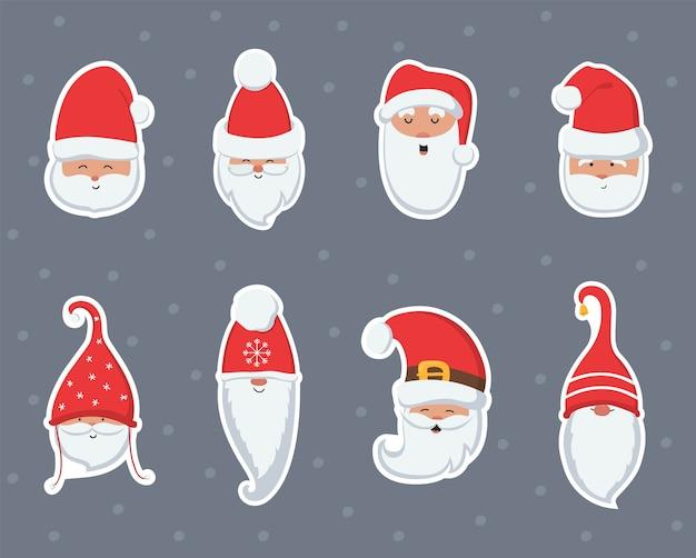 Weihnachtsmann-karikaturkopf an hutaufklebern
