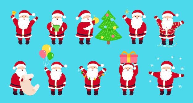 Weihnachtsmann-karikatursatz des weihnachtsmannes. verschiedene santa neujahrsobjekte. sammlung lustiger glücklicher charakter mit weihnachtsbaum