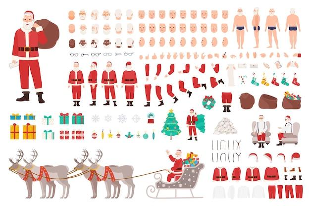Weihnachtsmann-konstruktor oder diy-kit. sammlung von körperteilen der weihnachtszeichentrickfilm-figur, kleidung, feiertagsattribute lokalisiert auf weißem hintergrund. vorder-, seiten-, rückansicht. vektor-illustration.