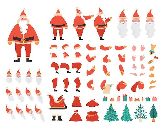 Weihnachtsmann-konstruktor-set. fröhlicher alter charakter mit weißem bart in rotem kostüm für die animation mit verschiedenen ansichten, emotionen, posen und gesten. weihnachtselemente. flache vektorillustration