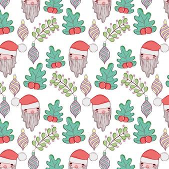 Weihnachtsmann-kopf mit bällen und blattmuster