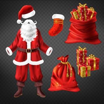 Weihnachtsmann-kostüm mit lederstiefeln, rotem hut, falschem bart und weihnachtsstrumpfsocke