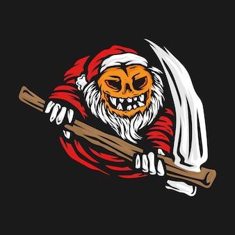 Weihnachtsmann-kürbis-sensenmann-vektor-illustration