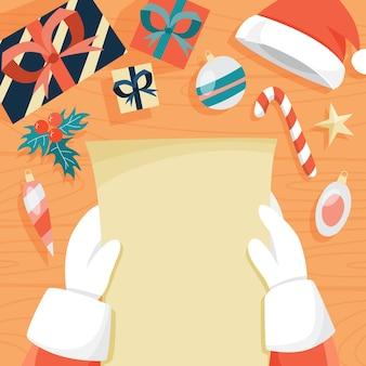 Weihnachtsmann liest weihnachtsbrief von kindern. hände in roten fäustlingen, die leere papierliste halten. illustration