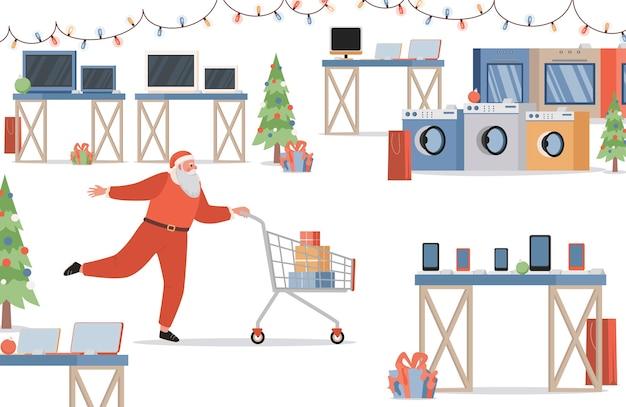 Weihnachtsmann macht einkaufen im elektronikgeschäft