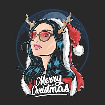 Weihnachtsmann-mädchen-horn-gebrauch-gläser