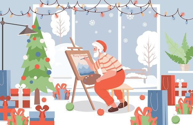 Weihnachtsmann malen bildillustration.
