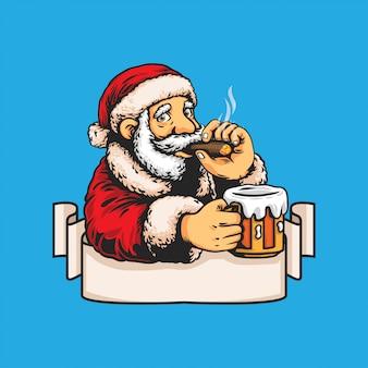 Weihnachtsmann mit bier- und zigarrenillustration