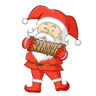 Weihnachtsmann mit dem roten kostüm und akkordeon haltend