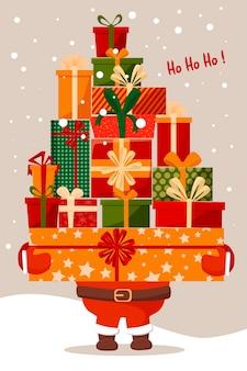 Weihnachtsmann mit einem großen berg von geschenken, illustration. für postkarten, vorlagen und tags