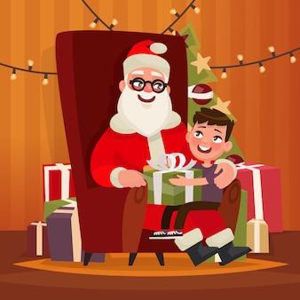 Weihnachtsmann mit einem kind, das auf einem stuhl sitzt. illustration