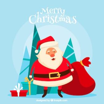 Weihnachtsmann mit einem sack geschenke