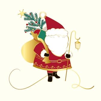 Weihnachtsmann mit einem sackvektor