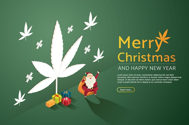 Weihnachtsmann mit einem stapel von geschenken auf einem beleuchteten marihuana-zeichenhintergrund