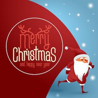 Weihnachtsmann mit einer riesigen tasche auf der flucht, um weihnachtsgeschenke zu liefern.