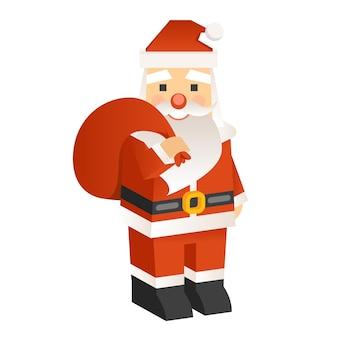 Weihnachtsmann mit einer tüte geschenke im modernen stil