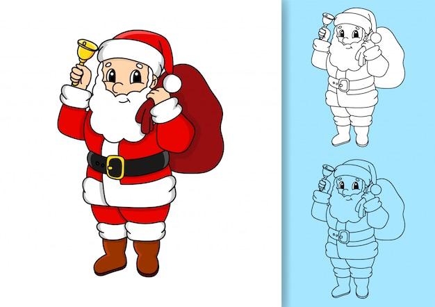 Weihnachtsmann mit einer tüte geschenke und einer glocke.
