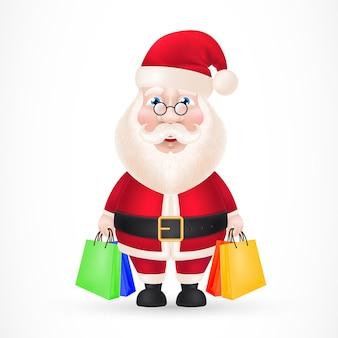Weihnachtsmann mit einkaufstüten