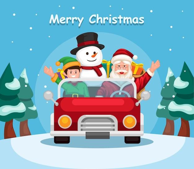 Weihnachtsmann mit elf und schneemann, der auto mit geschenkbox reitet, liefern an kinder in der weihnachtszeit vecto