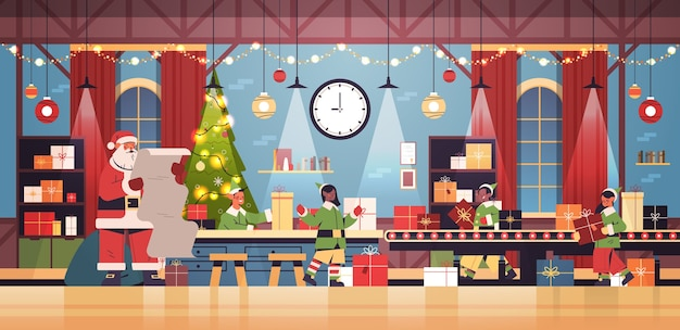 Weihnachtsmann mit elfen, die geschenke auf maschinenlinienförderer setzen frohes neues jahr weihnachten feiertagsfeier konzept moderne werkstatt innen horizontale vektor-illustration