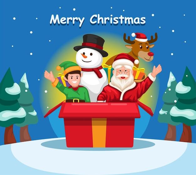 Weihnachtsmann mit freund aus geschenkbox weihnachtsmann schneemann elf und hirsch charakter cartoon vektor