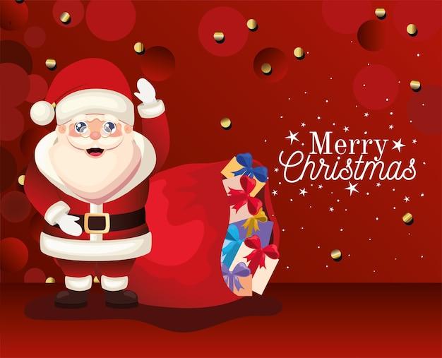 Weihnachtsmann mit frohen weihnachtsbeschriftungen und taschenillustration