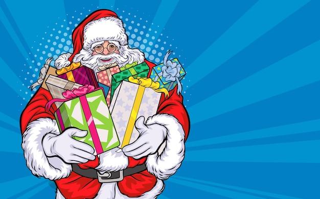 Weihnachtsmann mit geschenk im retro-vintage-pop-art-comic-stil