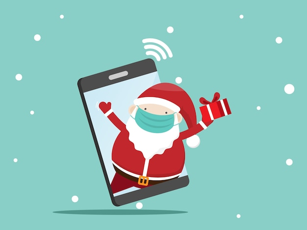 Weihnachtsmann mit geschenkbox auf handy
