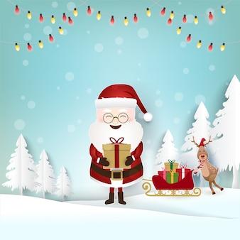 Weihnachtsmann mit geschenkboxen, hirsch-schlitten