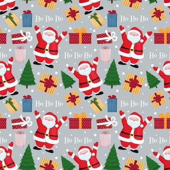 Weihnachtsmann mit geschenkboxen und nahtlosem muster des weihnachtsbaums flache vektorillustration