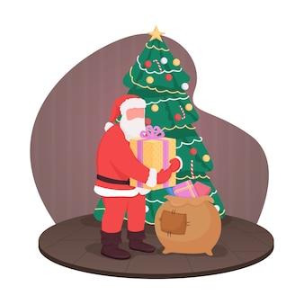 Weihnachtsmann mit geschenken 2d-web-banner, plakat. traditionelle flache weihnachtsfiguren auf karikaturhintergrund. freudige tradition. unter weihnachtsbaum präsentiert druckbare patch, buntes webelement