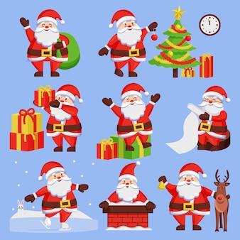 Weihnachtsmann mit geschenken festgelegt