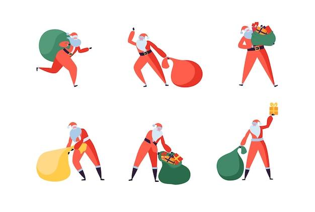 Weihnachtsmann mit geschenken flache charaktere in verschiedenen posen