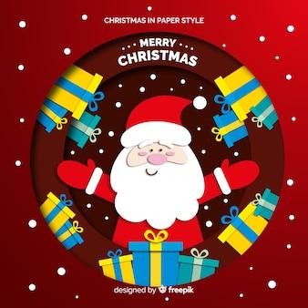 Weihnachtsmann mit geschenkhintergrund