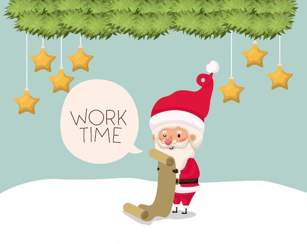 Weihnachtsmann mit geschenkliste in der schneelandschaft